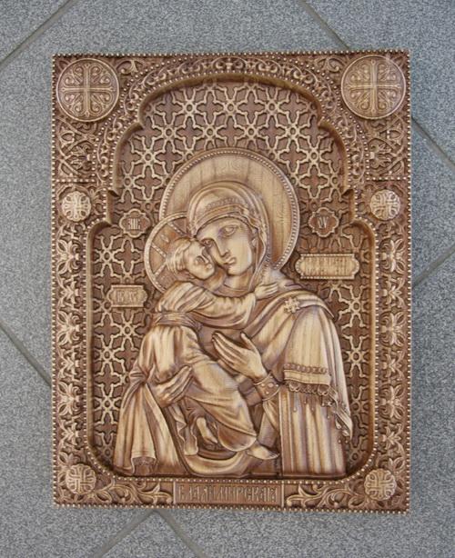 Резная Икона Владимирская божья матерь